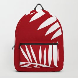 PALM LEAF RED AND WHITE PATTERN Backpack