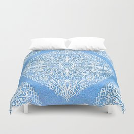 White Gouache Doodle on Pearly Blue Paint Duvet Cover
