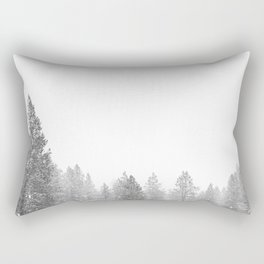 Winterland // Snowy Landscape Photography White Out Winter Pine Tree Artwork Rectangular Pillow