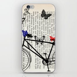 Bicycle and butterflies iPhone Skin