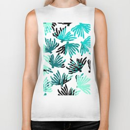 Abstract black teal watercolor coral floral Biker Tank
