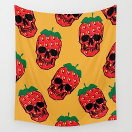 Skull Strawberries  Wall Tapestry