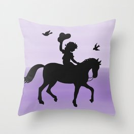 Girl and horse silhouette lavender Throw Pillow
