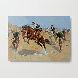 "Frederick Remington Western Art ""Turn Him Loose"" Metal Print"