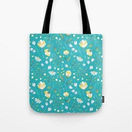 Colourscape Summer Floral Pattern Turquoise Lemon Tote Bag