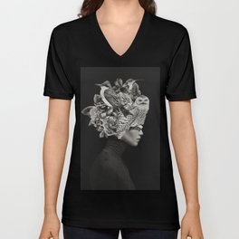 Lady with Birds(portrait) Unisex V-Neck
