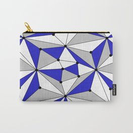 Abstract geometric pattern - blue, gray and white. Carry-All Pouch