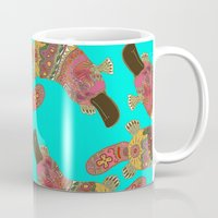 platypus Mugs featuring duck-billed platypus turquoise by Sharon Turner