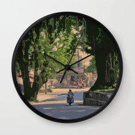 A LAZY MORNING ON THE STREETS OF POKHARA NEPAL Wall Clock