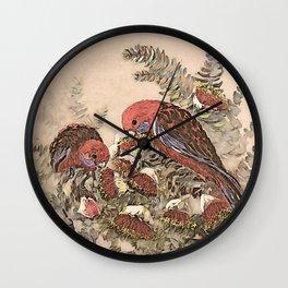 Crimson rosella Wall Clock