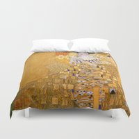 gustav klimt Duvet Covers featuring Gustav Klimt - The Woman in Gold by Elegant Chaos Gallery