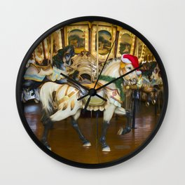 Holiday Carousel Horse Wall Clock