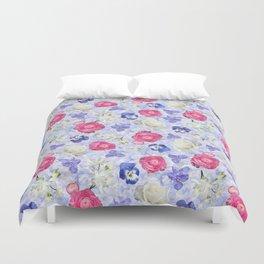 Rose Ranunculus Pansy Flowers over Pale Blue Duvet Cover