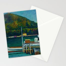 Jetty on Lake Iseo, Lombardy, Italy landsapce painting by Piero Marussig Stationery Cards