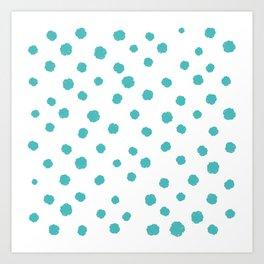 Hand-Drawn Dots (Teal & White Pattern) Art Print