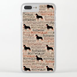 Rottweiler silhouette and word art pattern Clear iPhone Case
