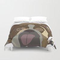 bulldog Duvet Covers featuring Bulldog by Design4u Studio