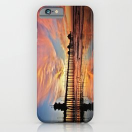 Pink Sunset Reflections  ~ Huntington Beach Pier CA iPhone Case