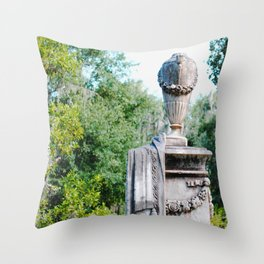 Old Statue standing guard Throw Pillow