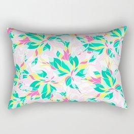 Modern pink turquoise yellow floral illustration spring summer hand drawn pattern Rectangular Pillow