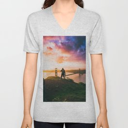 The Photographer On a Hill Purple/Pink Unisex V-Neck