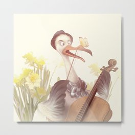 The Ostrich Playing the Cello Metal Print
