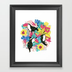 Toucan floral pattern Framed Art Print