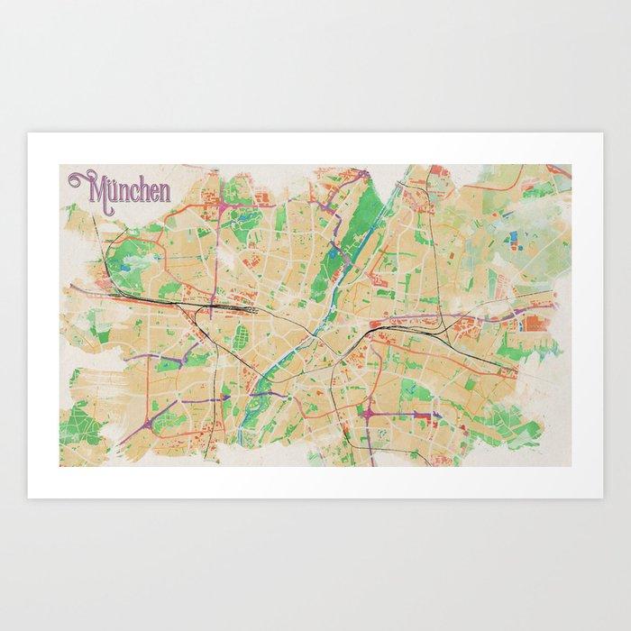 Munich in Watercolor Art Print