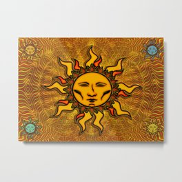 Bright Sun #2 Psychedelic Character Icon Tapestry Metal Print