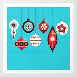 Retro Christmas Baubles Art Print