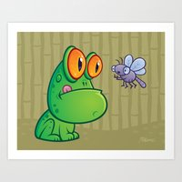 Frog and Dragonfly Art Print