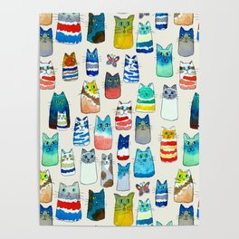 Lots of Watercolor Kitty Cats Poster