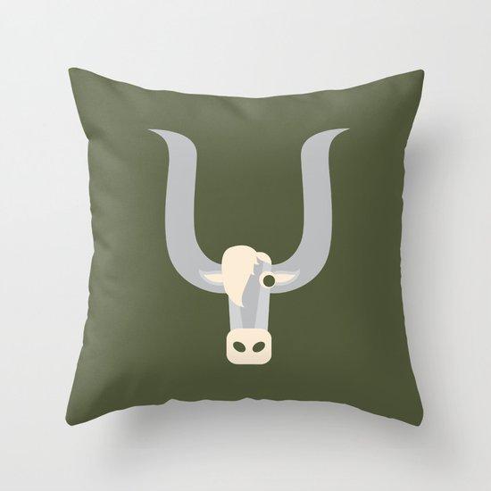 Letter Y // Animal Alphabet // Yak Throw Pillow