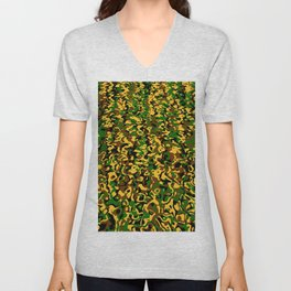 Masking in colors brown green yellow Unisex V-Neck