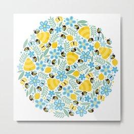 Busy Little Honeybees Metal Print