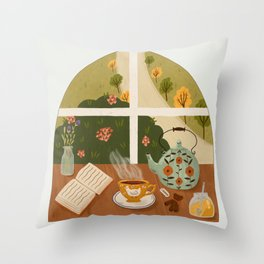 Tea Time by the Window Throw Pillow