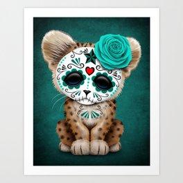 Blue Day of the Dead Sugar Skull Leopard Cub Art Print