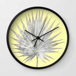 White Marble Fan Palm Leaf on Yellow Wall Wall Clock