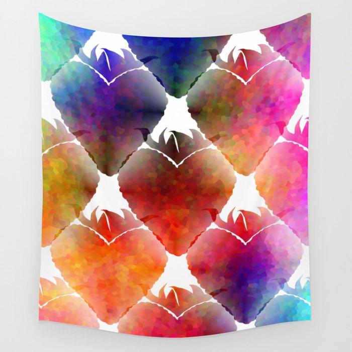 Heart Shape Strawberry Wall Tapestry