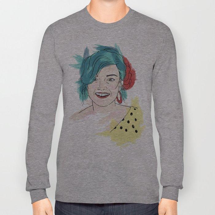 Blue haired girl Long Sleeve T-shirt
