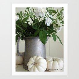 White Whisper Roses & White Pumpkins ~ Still Life Photograph ~ Autumn Decor Art Print