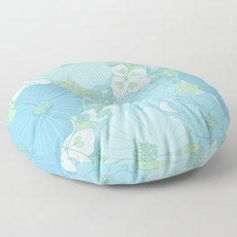 Light Blue Pastel Vintage Floral Pattern Floor Pillow