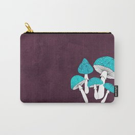 Blue mushrooms field on plum violet Carry-All Pouch
