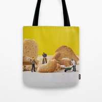 work hard Tote Bags featuring Hard Work by Encolhi as Pessoas