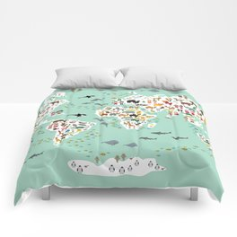 Cartoon animal world map for children and kids, back to schhool. Animals from all over the world Comforters