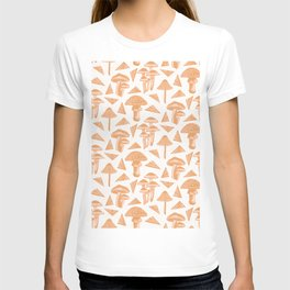 Block-print Mushrooms - ochre and blush pink T-shirt