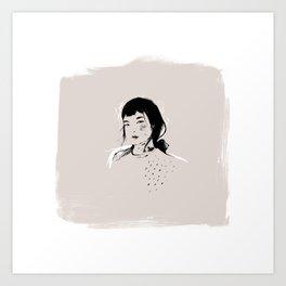 Modern Pencil Drawing Fine Art Portrait. Asian woman. Art Print