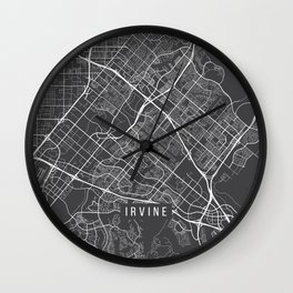 Irvine Map, USA - Gray Wall Clock