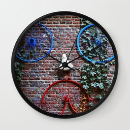 Bike face in a wall of Amsterdam, Netherlands - Travel Photography Wall Clock