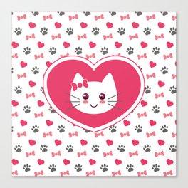 Cute cat in my heart Canvas Print
